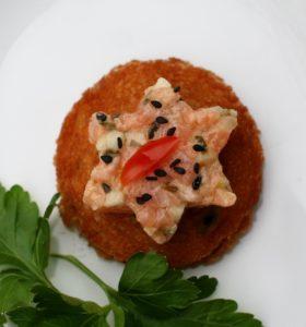 Lososový tatarák s wasabi