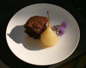Ořechové brownies s hruškou
