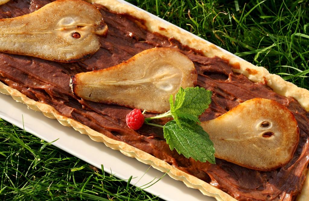 Hruškový koláč s čokoládovým krémem